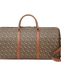 Burberry Monogram Print E-canvas And Leather Holdall - Brown