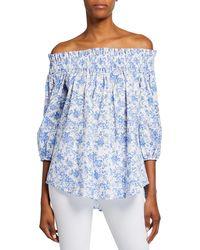 Caroline Constas Lou Smocked Floral Off-shoulder Top - Blue