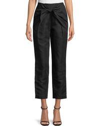 FRAME - Overlap Knot Straight-leg Linen Pants - Lyst