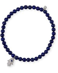 Sydney Evan 14k White Gold Sapphire/diamond Hamsa & Lapis Bracelet - Blue