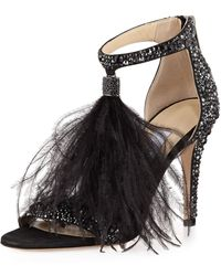 Jimmy Choo - Viola Crystal Suede Sandal With Feather - Lyst