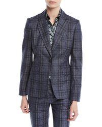 Kiton - One-button Plaid Cashmere-blend Jacket - Lyst