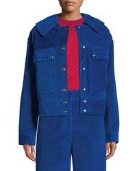 Cedric Charlier - Snap-front Oversized Velvet Corduroy Jacket - Lyst