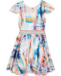 Zoe - Watercolor Sateen Flounce Hem Swing Dress - Lyst