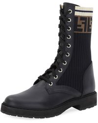 Fendi Leather Combat Boot With Ff - Black