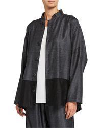 Eskandar Wool-silk Mandarin Jacket - Black