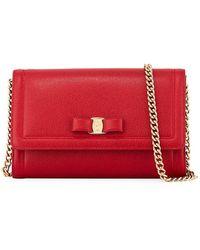 Ferragamo Miss Vara Mini Crossbody Clutch Bag - Red