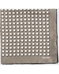 New $180 TOM FORD Teal Green and White Dot Print Silk Pocket Square