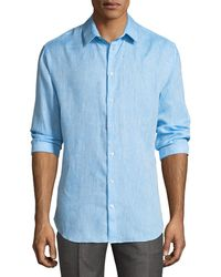 Giorgio Armani - Melange Flax Linen Sport Shirt - Lyst