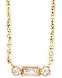 Sydney Evan - Bezel Baguette Diamond Necklace - Lyst