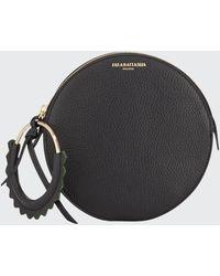 Sara Battaglia Helen Round Leather Wristlet Bag - Black