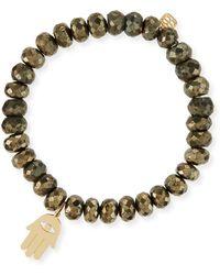 Sydney Evan - 8mm Champagne Pyrite Beaded Bracelet With 14k Hamsa Charm - Lyst