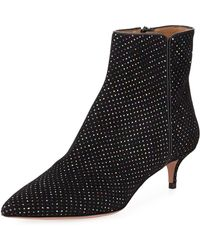 Aquazzura Quant Metallic-dotted Kitten-heel Booties - Black