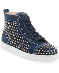 Christian Louboutin Men's Louis Orlato Spiked Suede Sneakers - Blue