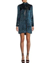 J. Mendel Long-sleeve High-neck Velvet Burnout Cocktail Dress - Blue