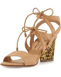 Edie Parker Rhoda Suede Glitter-heel Sandal - Natural