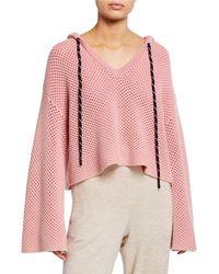 Zoe Jordan Galli Flared-sleeve Wool Pullover Hoodie - Pink