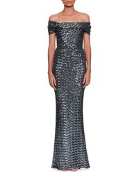 Dolce & Gabbana - Off-the-shoulder Embroidered Paillette Evening Gown - Lyst