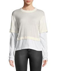 T By Alexander Wang - Fine-gauge Layered Cropped Top - Lyst
