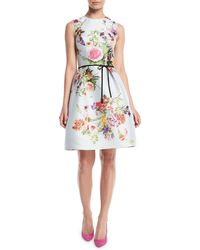 Monique Lhuillier - Sleeveless A-line Floral-print Polka-dot Mikado Cocktail Dress W/ Belt - Lyst