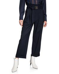 Brunello Cucinelli Monili-belted Wide-leg Cuffed Trousers - Blue