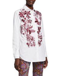 Etro Floral Embroidered Poplin Shirt - White