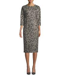 Max Mara - Dramma Crewneck 3/4-sleeve Leopard-print Wool Sheath Dress - Lyst