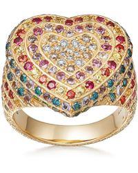 Carolina Bucci - 18k Gold Florentine Multi-stone Heart Ring - Lyst