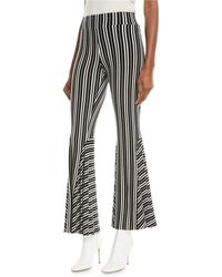 Beaufille Lamos High-waist Striped Rib-knit Flared Pants - Black