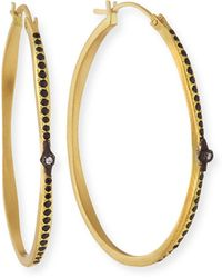 Armenta - Old World Hoop Earrings With Black Sapphires & Diamonds - Lyst