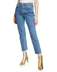 716898ac Levi's - 501 Crop Mid-rise Straight-leg Jeans - Lyst