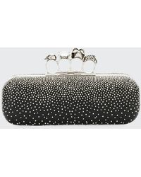 Alexander McQueen Four-ring Knuckle Studded Napa Box Clutch Bag - Black