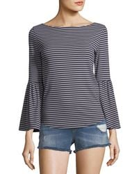 FRAME - Boat-neck Bell-sleeve Striped Top - Lyst