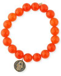 Sydney Evan - 10mm Orange Agate Beaded Bracelet With Diamond & Sapphire Hamsa Charm - Lyst
