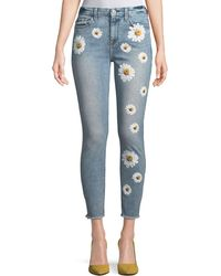 7 For All Mankind - High-rise Ankle Skinny Jeans W/ Daisy Floral-print & Raw-hem - Lyst