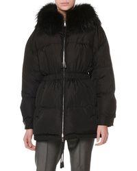 Prada - Zip-front Drawstring Quilted Puffer Coat W/ Fur Collar - Lyst