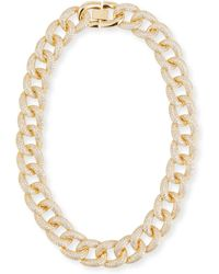 Fallon - Armure Cubic Zirconia Pavé Curb Chain Collar Necklace - Lyst