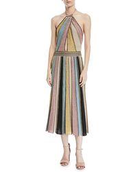 M Missoni - Crochet Striped Halter Dress - Lyst