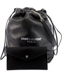 Saint Laurent Teddy Drawstring Bucket Bag - Black