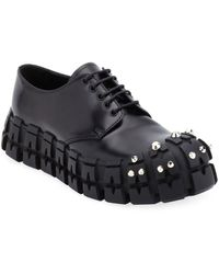 Prada Men's The Wheel Tire Lug-sole Derby Shoes - Black