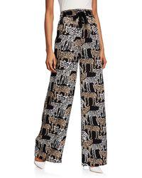 Prabal Gurung Artisanal Tiger-print Silk Pajama Pants - Black