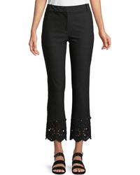 10 Crosby Derek Lam - Cropped Flare Stretch-cotton Trousers With Eyelet Embroidery - Lyst