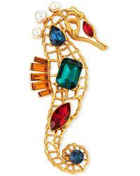 Oscar de la Renta - Swarovski® Crystal Seahorse Brooch - Lyst