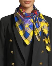 Versace - Square Plaid Silk Foulard Scarf With Mismatched Logo - Lyst