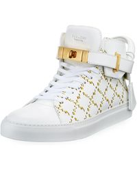 Buscemi - Men's Monogramed Leather Mid-top Sneakers - Lyst