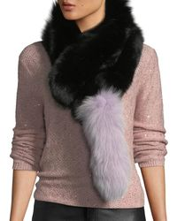 Charlotte Simone Popsicle Fur Pull-through Scarf - Black