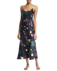 Meng | Floral-print Silk Long Slip Nightgown | Lyst