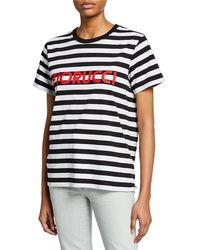 0049d55a7e5 Fiorucci Striped Crop T-shirt in Green - Lyst