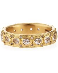 Armenta - Yellow Gold Lacy Eternity Stackable Ring - Lyst