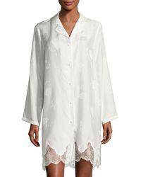 Lise Charmel Orchid Paradis Long-sleeve Satin Sleepshirt - White